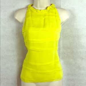 Brand New INC 100% Silk lined Yellow Blouse NWOT